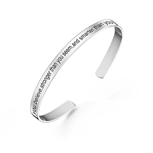 MissNity Sterling Silver Inspirational Cuff Bangle Bracelet Personalized Message Engraved White Gold Plated Custom Jewelry Graduation Gift for Her (Silver)