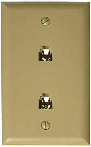 Morris 80020 Double RJ11 4 Conductor Phone Jack Wall Plate, ()