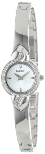 Bulova Women's 96X111 Crystal Pendant and Bangle Set White Dial Watch