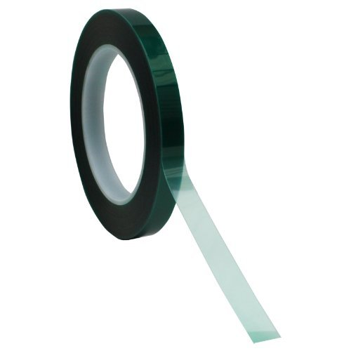 "1/2"" X 72 Yds - Tapes Master 2 Mil Green Powder Coating Masking Tape - High Temperature"