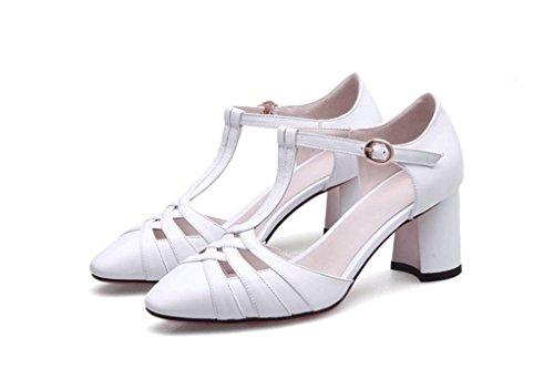 Mujer Vaca Coreana de HJHY® Huecas Verano Abierta Tacón Punta Sandalias Zapatos Blanco de de Piel Grueso Versión con de Sandalias Sandalias de Cómodos Sexy raqxtaPZ