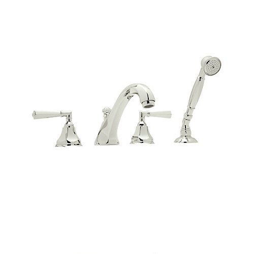Rohl A1904LMPN Palladian Four Hole Deck Mounted Tub Filler with Palladian Metal Levers and Hex Spout, Polished (Hex 4 Hole Deck)