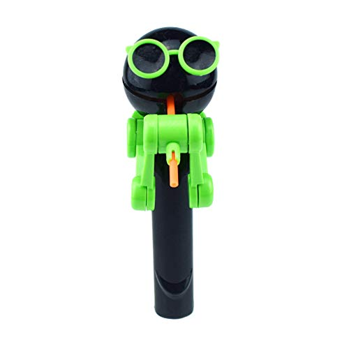 Binory Creative Design Eating lollipop Funny Robot with Sunglasses,Lollipops Holder 3 Color Options,Funny Lollipops Stand Children's Day Gifts,Fashion New Stress Relieve Decompression Toy(Black)