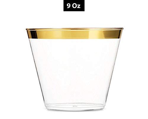 (Premium 9 Oz Gold Rimmed Disposable Clear Plastic Cups - 100 Pack - Events, Weddings and Party Tumblers (Gold Trim) | Stylish Party Tableware Accessory | 1.2 mm Gold Rim)