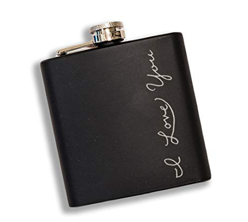 I Love You 6oz Black Matte Engraved Flask, Great Gifts for Birthday, Valentine