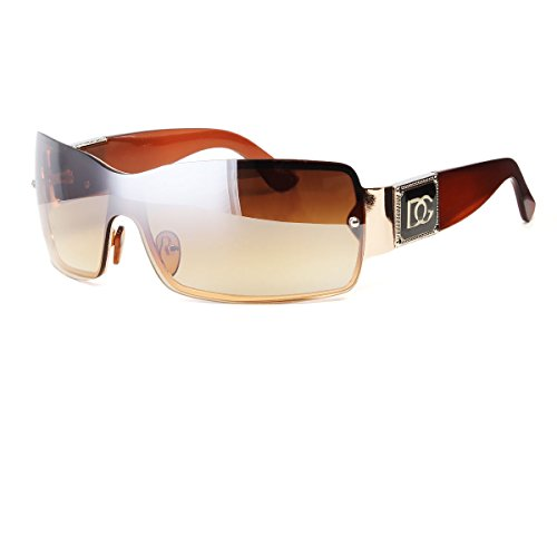 Brown Eyewear Womens Mens Shield Designer Sunglasses Shades Fashion Retro Wrap - Locations Shades Sunglasses