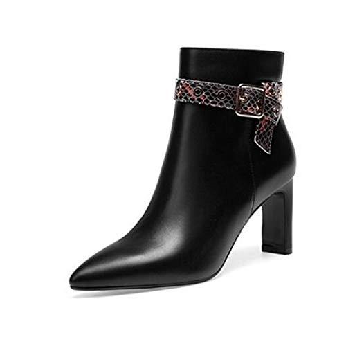 IWxez Bottes Bottes à la Mode pour Femmes Bottes IWxez d'automne en Cuir Nappa Talon Chunky Chaussures à Bout fermé/Bottines Noir/Beige 36 EU|Black ffe33c