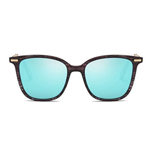 Color 100 et Bois Green Frame Black Lunettes Frame Hommes Gradient Protection de Lens Lens Blue UV Femmes pour Sakuldes Vintage en 8Sf7xIw