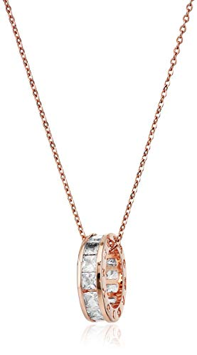 Sale Circle Pendant Necklace with White Zirconia Crystals 18 ct Rose Gold Plated for Women 18""