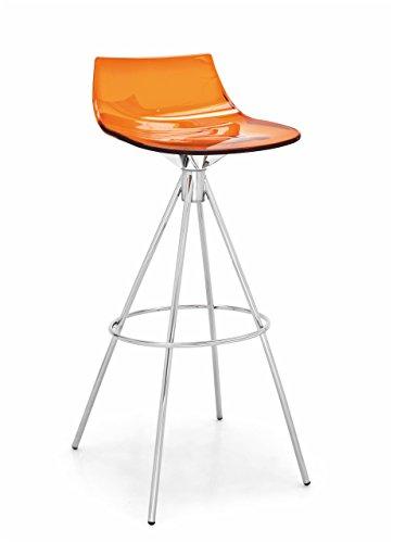"Connubia LED Stool - 38"" - Steel Stained Chromed Frame - Styren Acrylonitrile Transparent Orange Seat"