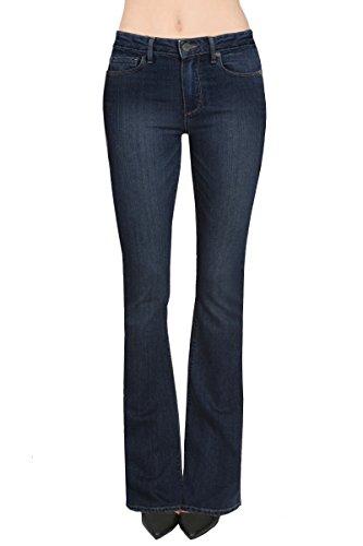HyBrid & Company Women's Skinny Bootcut Stretch Pant-P31697BL-DARK WASH-5