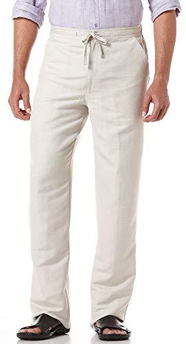 Cubavera Mens Linen Blend Drawstring Pants Large Natural beige