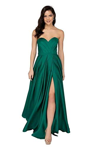 Terani Couture 1911P8179 Strapless Pleated Bustier High Slit Gown in Emerald
