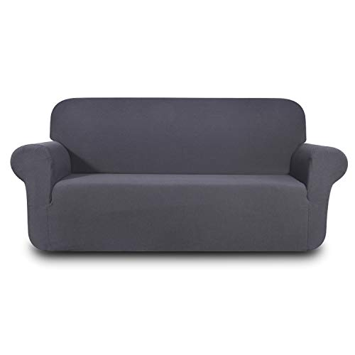 Hanhao Sofa Loveseat Covers for Living Room, Fitted Slip Cover for Couch, 1 Piece Durable Stretch Slipcover, Anti Slip Furniture Protector (Loveseat, Grey) ()