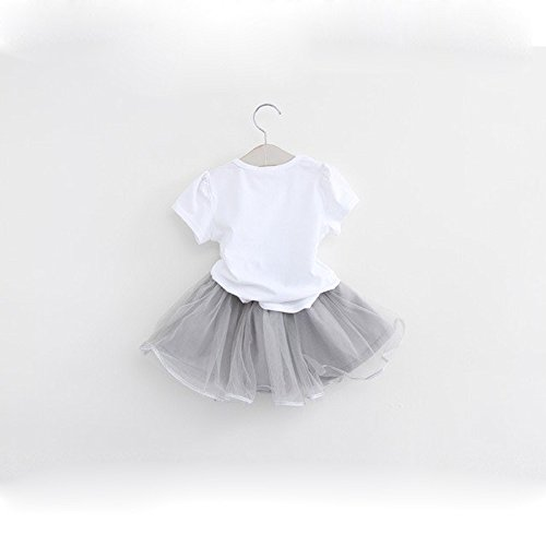 90cae891 Kids Girl Toddler Baby Girl Summer Casual Short Sleeve Cute Cat & Floral  Tutu Dress Clothes (White, 4T/110)