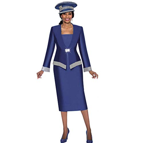 KUEENI Women Church Suits with Hats Church Dress Suit for Ladies Formal Clothes White (navyblue hat&Suit, 12) (Mothers Suit Ladies Dress Church)