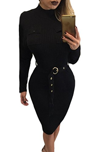 SunShine Sexy Black High Neck Rib Knitted Midi Dress with Belt Black (US 12-14)L For Women