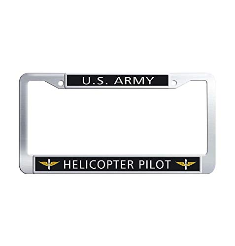 JiuzFrames US Army Helicopter Pilot car tag Holder, Cool Waterproof Stainless Steel Metal Auto License Plate Frame Holder with Screw Caps
