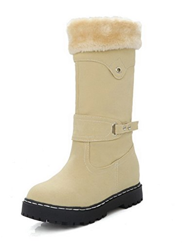 AmoonyFashion Women's Mid-Top Pull-On Frosted Low-Heels Round Closed Toe Boots, Beige, 38