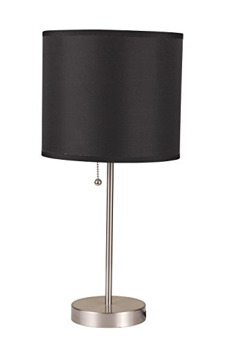 ACME Furniture 40044 Vassy Brushed Silver Table Lamp with Black Shade (Set of 2)