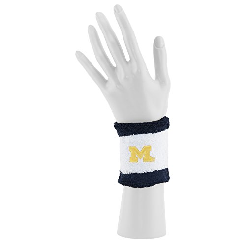Michigan Wolverines Official Adult Striped NCAA 92% Cotton 8% Spandex Head Band Headband & Wristband Set by Mojo Koolwear