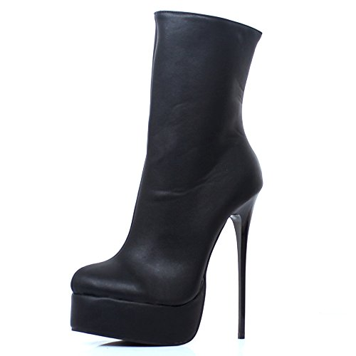 Platform Shoes Fetish (JiaLuoWei Women High Heels Boots, Mid-Calf Boots Unisex Sexy Fetish Shoes Plus Size 16cm High Heel (10, Black Matte))