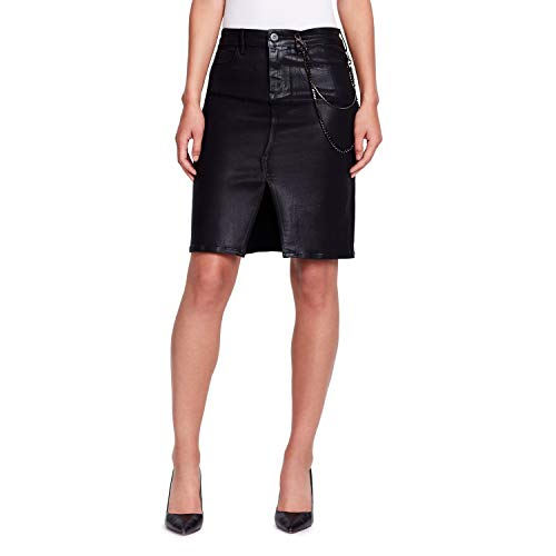 Skinnygirl Women's Pencil Skirt with injeanious Stretch Denim, Dante/Black Coasted 24