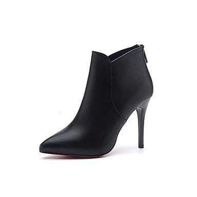GLL&xuezi Mujer Botas Botas de Combate Otoño PU Vestido Cremallera Tacón Stiletto Negro 7'5 - 9'5 cms black
