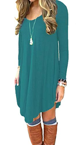 DEARCASE Women's Long Sleeve Casual Loose T-Shirt Dress Acid Blue X-Large by DEARCASE