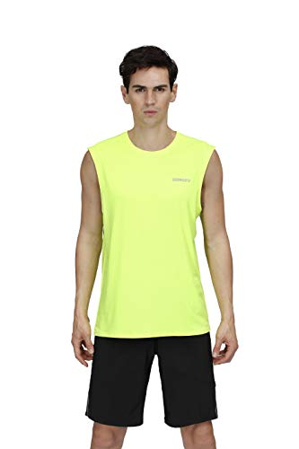 (DEMOZU Men's Tank Top, Gym Work Out Performance Quick-Dry Muscle Sleeveless Shirt,Neon Yellow,Small)