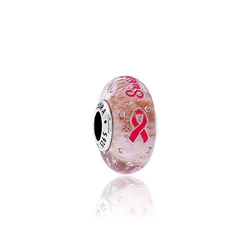 Pink Ribbon Jewelry (Pandora Survivor Silver Charm with Pink Murano Glass & Enamel)