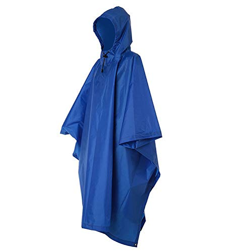 (Waterproof Raincoat Rain Poncho Lightweight RipStop Hooded Picnic Mat Rain Fly backpack Cover (Blue)­)