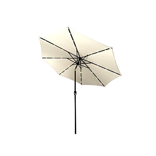 ALEKO UMB10L24BE Solar Powered LED Lighted Outdoor Patio Table Umbrella Waterproof Polyester with Tilt Adjustment 8 x 10 Feet Beige