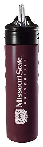 Missouri State University-24oz. Stainless Steel Grip Water Bottle with Straw-Burgundy