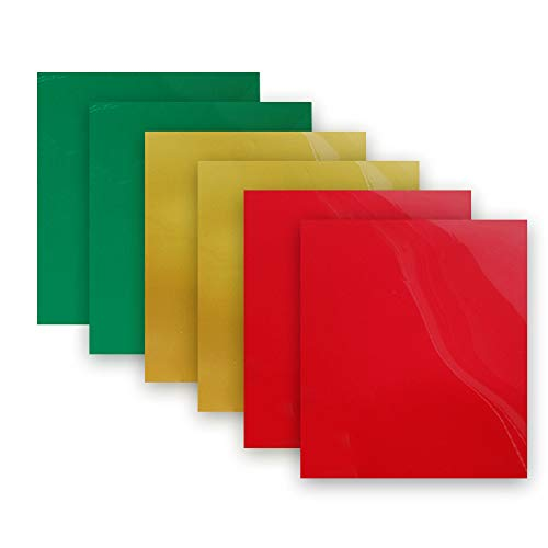 Heat Transfer Vinyl Pack Bundle 2 by Green, Red, Gold 3 Colors 12x10 Iron on Vinyl for Cameo for DIY Shirt and Garment Decoration