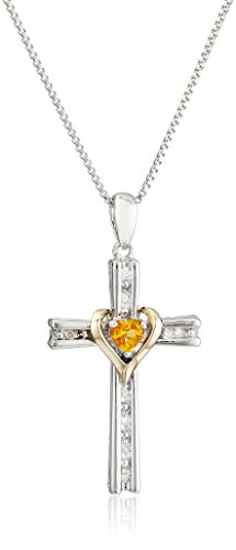 Sterling Silver and 14k Gold Citrine Heart and Diamond-Accent Cross Pendant Necklace, 18