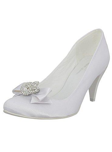 Boutique-magique Chaussures De Mariée Nœud Et Strass Blanc
