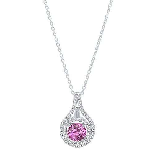 (Dazzlingrock Collection 14K 5.5 MM Round Pink Sapphire And Round & Baguette Diamond Ladies Pendant, White Gold)