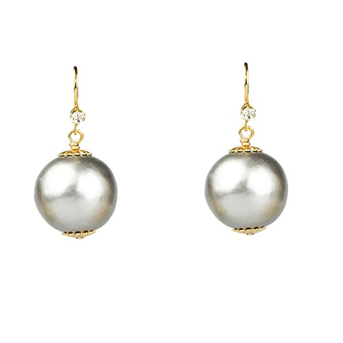 John Wind Cotton Pearl Earrings With Lever Backs, 20mm (Platinum)