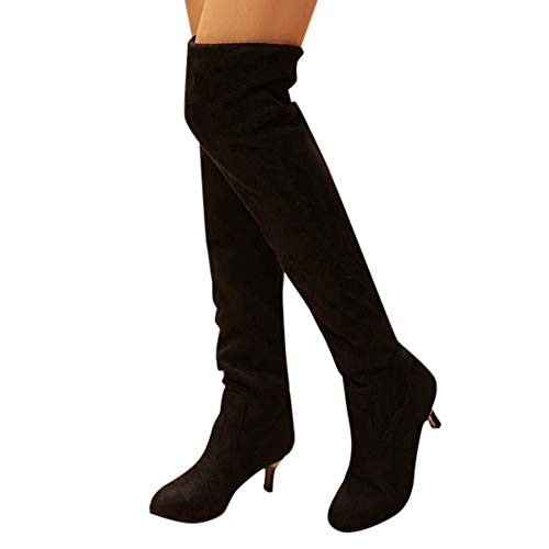 Womens High Boots Cinsanong Suede Over The Knee Shoes Block Middle Heels Thigh Boots