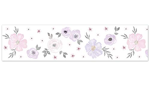 Sweet Jojo Designs Lavender Purple, Pink, Grey and White Wallpaper Wall Border for Watercolor Floral Collection - Rose Flower