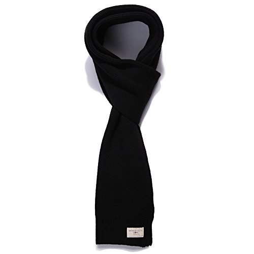 Winter 47% Wool Long Scarf for Men Shawl Wraps Blanket Thick Warm Soft Classic Premium Black SIGGI