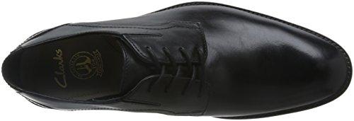 Clarks Prangley Walk, Zapatos de Cordones Derby para Hombre Negro (Black Leather)