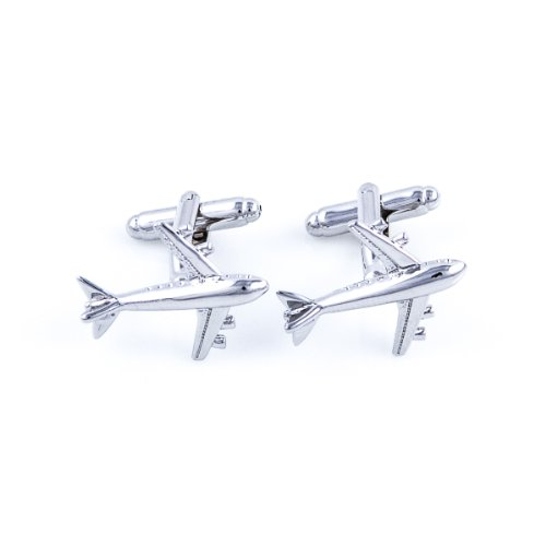 MRCUFF Airplane Plane Commercial Jetliner Jet Aircraft Pilot Pair Cufflinks in a Presentation Gift Box & Polishing Cloth by MRCUFF (Image #1)