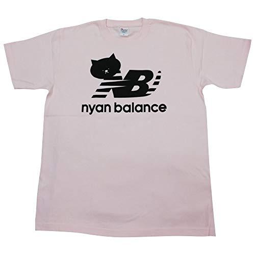 すべて前文お気に入りニャンバランス 半袖 Tシャツ ブランド ネコ パロディー Mサイズ Lサイズ XLサイズ
