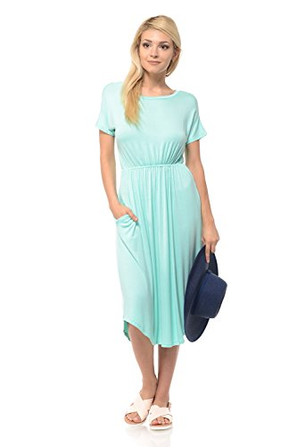 iconic luxe Women's Solid Short Sleeve Flare Midi Dress with Pockets X-Large Mint