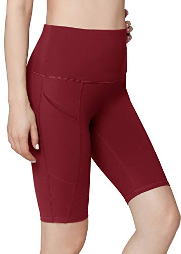 (Oalka Women's Short Yoga Side Pockets High Waist Workout Running Shorts Burgundy XL)