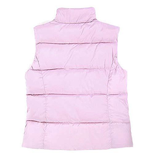 Rosa Colori Eleganti Moda Collo Invernali Trapuntata Solidi Termico Di Gilet Cappotto Donna Slim Calda Outerwear Casuale Women Fit Giacca Giovane Coreana Smanicato Trapuntato EnBHOqq