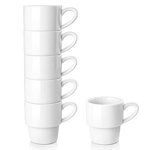 LIFVER Porcelain Espresso Cups, 3.5 Ounce Demitasse Cups, Stackable Espresso Coffee Cup, Set of 6, - Porcelain Ounce 3.5