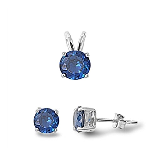Jewelry Set Pendant Stud Earrings Simulated Deep Blue Sapphire 925 Sterling Silver by Blue Apple Co.